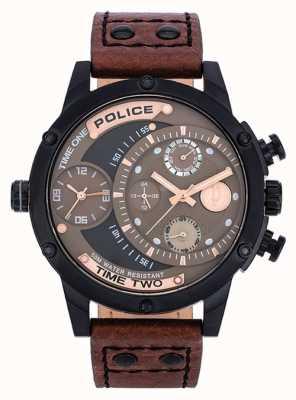 Police cinturino in pelle marrone quadrante marrone nero 14536JSB/12A