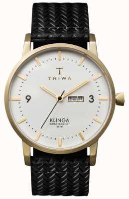 Triwa Unisex Klinga quadrante bianco con cinturino in pelle KLST103-GC010113