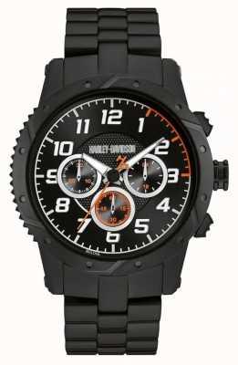 Harley Davidson Mens cinturino nero cassa nera del cronografo 78B138