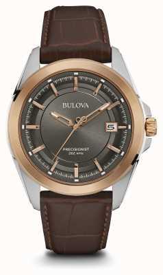 Bulova Mens quadrante marrone cinturino in grigio cassa in oro rosa 98B267