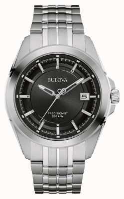 Bulova Mens cinturino quadrante nero argento in acciaio inox 96B252