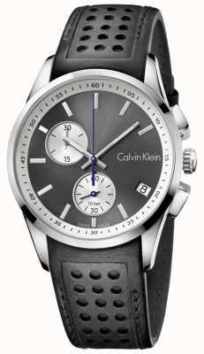 Calvin Klein Mens grassetto cronografo in pelle nera K5A371C3