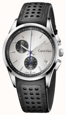 Calvin Klein Mens quadrante bianco cinturino nero K5A371C6