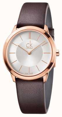 Calvin Klein Mens quadrante argentato minima cassa in oro rosa K3M226G6