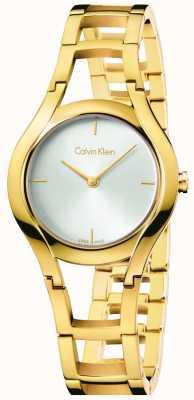 Calvin Klein placcato delle donne di classe oro quadrante bianco K6R23526