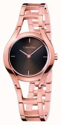 Calvin Klein orologio di classe delle donne di rosa placcato oro dia marrone K6R2362K
