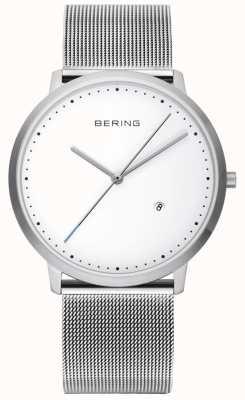 Bering quadrante bianco cinturino in argento unisex 11139-004