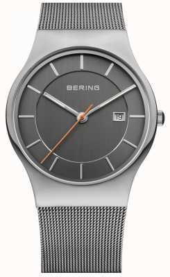 Bering Mens quadrante grigio cinturino grigio 11938-007