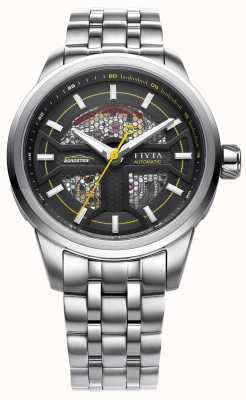 FIYTA Mens quadrante nero cinturino in acciaio inox GA866003.WBW