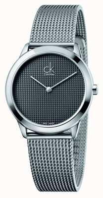 Calvin Klein quadrante nero braccialetto della maglia Minimal K3M2212X