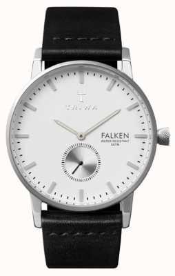 Triwa Falken Mens quadrante bianco cinturino in pelle nera FAST103-CL010112