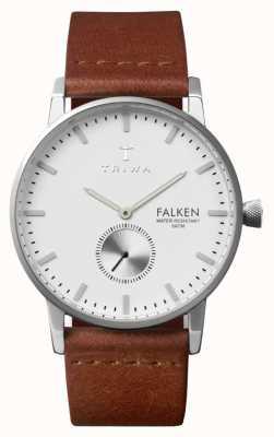 Triwa Mens Falken quadrante bianco cinturino in pelle marrone FAST103-CL010212