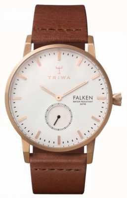 Triwa Falken Unisex quadrante bianco cinturino in pelle marrone FAST101-CL010214