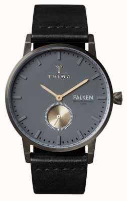 Triwa Mens Falken pelle nera quadrante cinturino in grigio FAST102-CL010113