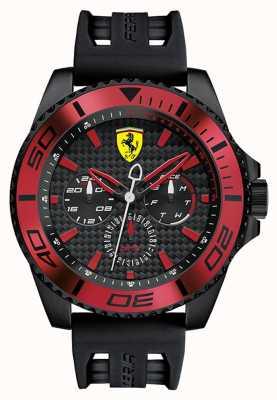 Scuderia Ferrari Mens cinturino in gomma nera quadrante nero dettaglio rosso 0830310