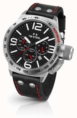 TW Steel mensa Mens quadrante nero cinturino in pelle nera CS10