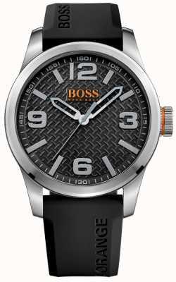 Hugo Boss Orange Mens Parigi cinturino in gomma nera quadrante nero 1513350