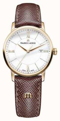 Maurice Lacroix Eliros donne quadrante bianco cinturino in pelle marrone EL1094-PVP01-111-1