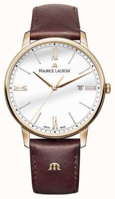 Maurice Lacroix Mens cinturino in pelle bianca quadrante rotondo marrone EL1118-PVP01-112-1