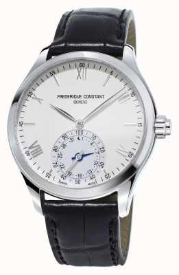 Frederique Constant quadrante bianco cinturino in pelle nera SmartWatch orologeria FC-285S5B6