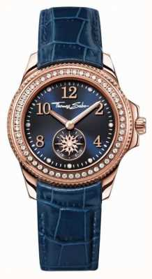 Thomas Sabo cinturino in pelle blu quadrante blu Womans WA0216-270-209-33