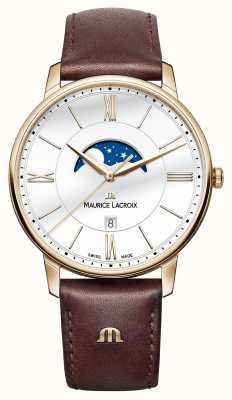 Maurice Lacroix Mens Eliros cinturino in pelle marrone fase lunare EL1108-PVP01-112-1