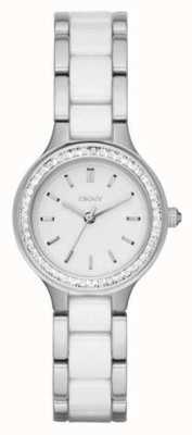 DKNY quadrante bianco Womans cinturino in acciaio ceramica NY2494
