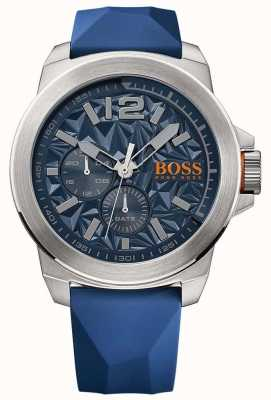 Hugo Boss Orange Mens cinturino in caucciù blu quadrante blu 1513348