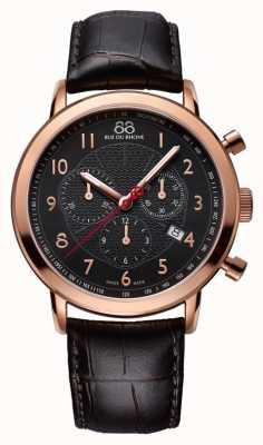 88 Rue du Rhone Mens rosa nera quadrante nero orologio d'oro 87WA120050