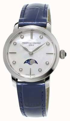 Frederique Constant Donna sottile fase lunare diamante incastonato cinturino in pelle blu FC-206MPWD1S6