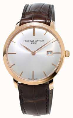 Frederique Constant slimline Mens cinturino in pelle marrone automatica FC-306V4S4