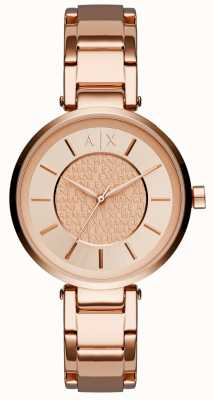 Armani Exchange Womens PVD oro rosa placcato oro rosa quadrante AX5317