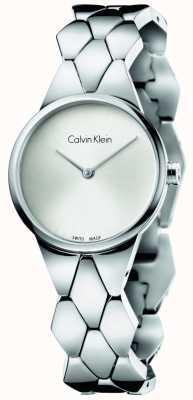 Calvin Klein quadrante argento braccialetto in acciaio inossidabile delle donne di serpente K6E23146