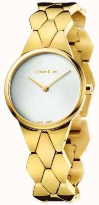 Calvin Klein Oro delle donne serpente pvd quadrante argento braccialetto K6E23546