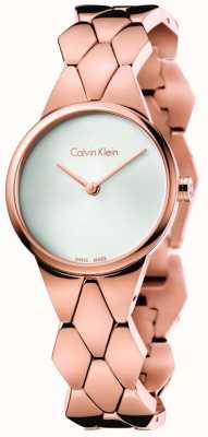 Calvin Klein Donne serpente rosa pvd quadrante argento braccialetto d'oro K6E23646