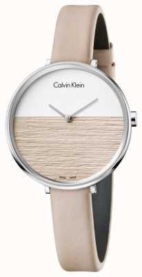 Calvin Klein Womens salgono cinturino in pelle beige quadrante beige K7A231XH