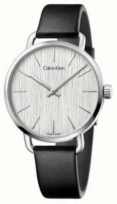 Calvin Klein Womens anche quadrante silver cinturino in pelle nera K7B211C6