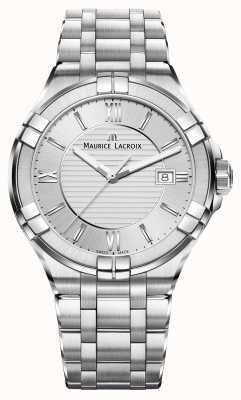 Maurice Lacroix Mens Aikon quadrante argento braccialetto in acciaio inox AI1008-SS002-130-1