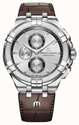 Maurice Lacroix in pelle marrone cronografo quadrante argentato cinturino Mens Aikon AI1018-SS001-130-1