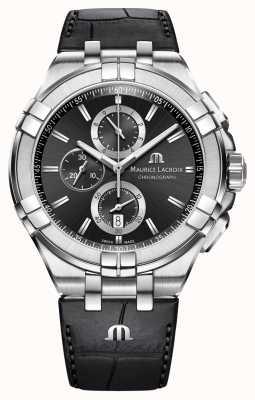 Maurice Lacroix Mens Aikon cronografo cinturino in pelle nera quadrante nero AI1018-SS001-330-1