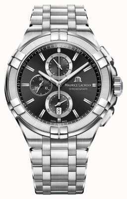 Maurice Lacroix Mens Aikon cronografo bracciale in acciaio quadrante nero AI1018-SS002-330-1