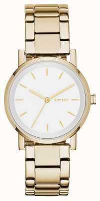 DKNY Womans rotonda cinturino in oro quadrante bianco NY2343