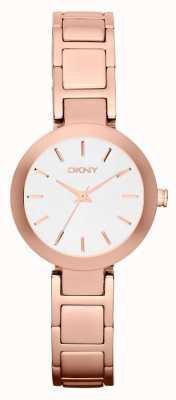 DKNY Womans quadrante bianco rosa cinturino in oro NY2400