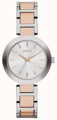 DKNY Womans quadrante bianco due cinturino tono NY2402