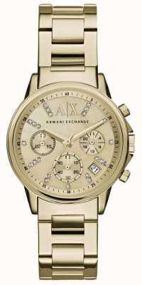 Armani Exchange Womans quadrante del cronografo in oro cinturino in metallo oro AX4327