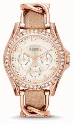 Fossil Womans bianco cronografo cinturino in pelle quadrante marrone ES3466