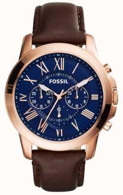 Fossil Mens Navy cronografo quadrante cinturino in pelle marrone FS5068