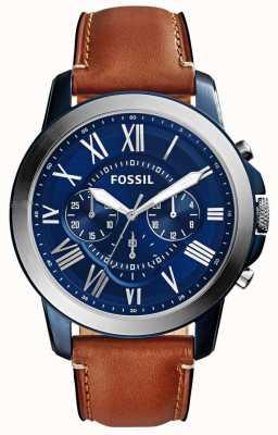 Fossil Mens blu cronografo quadrante cinturino in pelle marrone FS5151