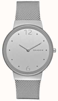 Skagen Womans quadrante argento tondo in metallo argentato cinturino in maglia SKW2380