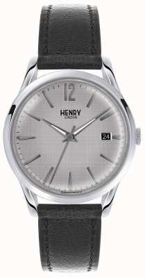 Henry London quadrante argento Mens cinturino in pelle nera HL39-S-0075